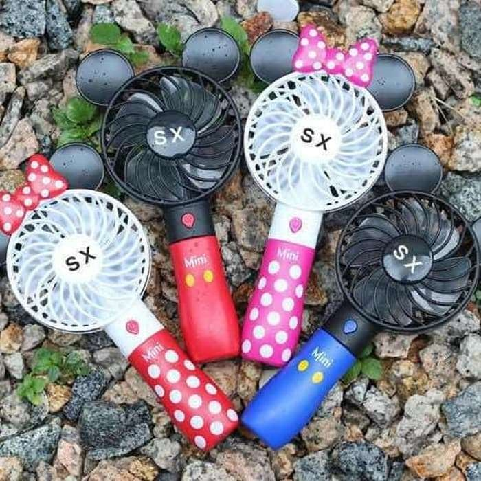 Handy Mini Fan Karakter MICKEY MOUSE / MINNIE MOUSE ( RECHARGEABLE ) Photo
