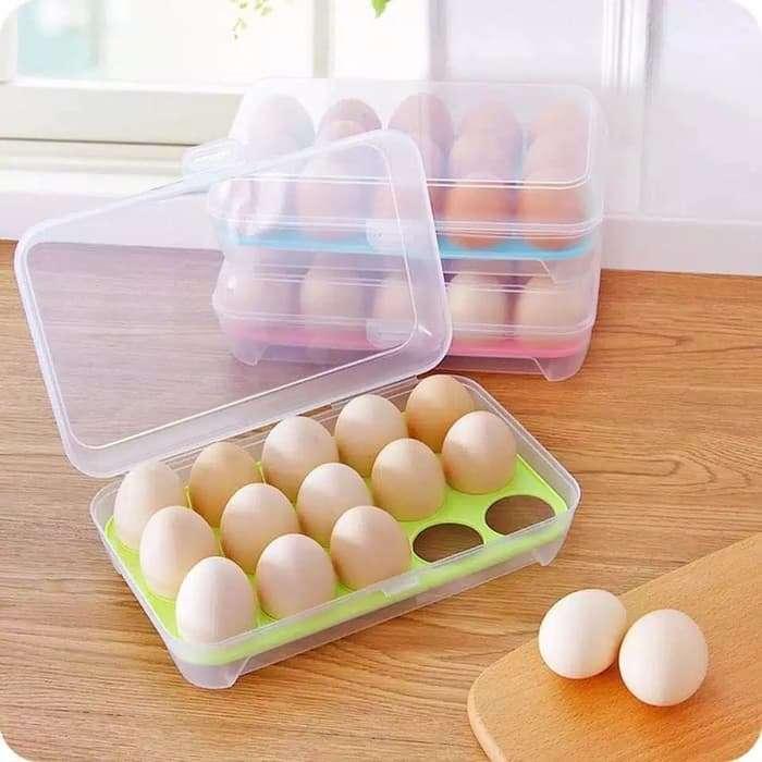 Tempat BOX TELUR 15 Lubang Sekat - Egg Box Container - Hijau Photo