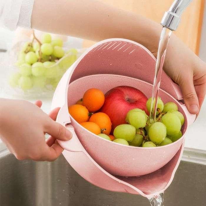 BASKOM SARINGAN GANDA PUTAR Wadah Cuci Beras Sayur dan Buah Photo