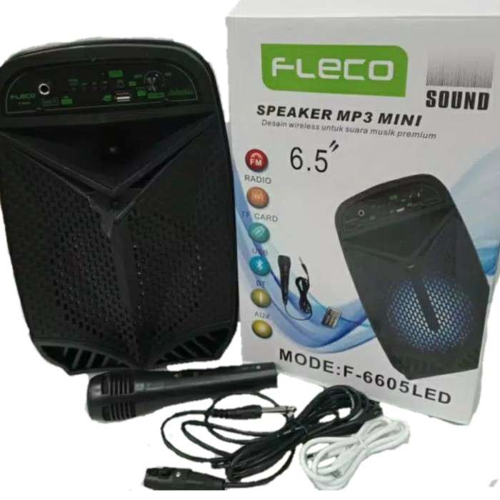 Speaker Bluetooth FLECO F-6605 LED FREE Microphone Photo