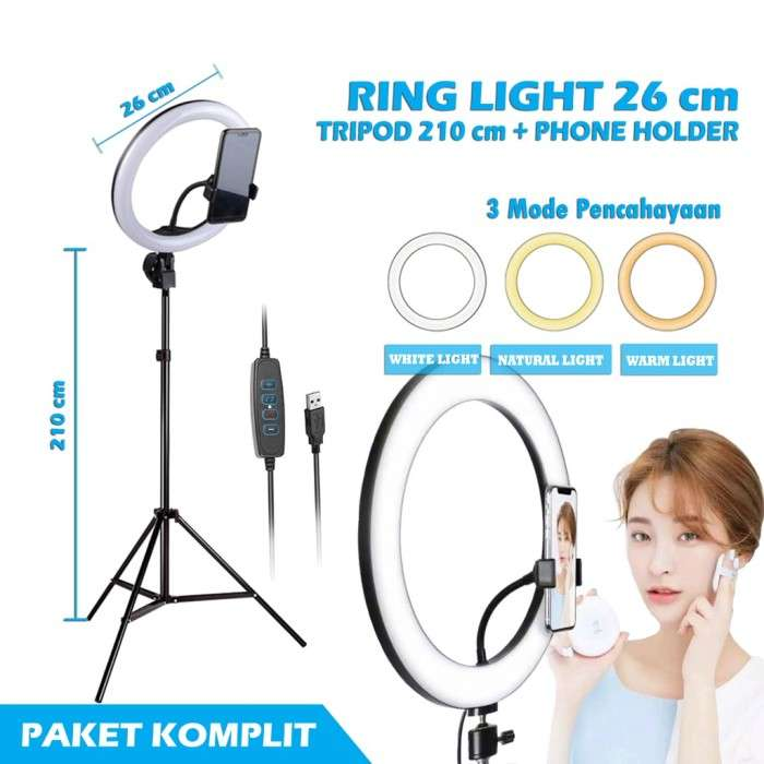 RING LIGHT LED 26CM Make Up Vlog Tiktok Lampu Ringlight Tripod 2.1M Photo