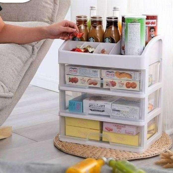 Rak Kosmetik SUSUN 3 LACI - Tempat Make Up Multifungsi Desktop Storage Photo