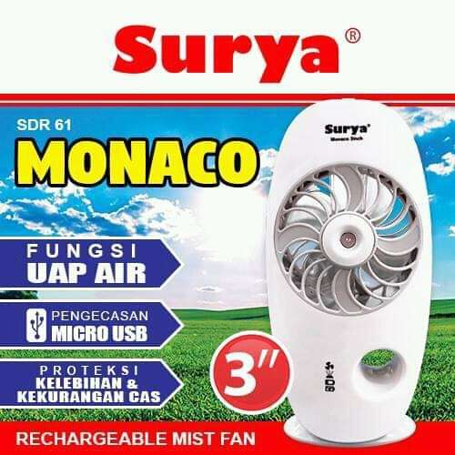 Kipas Angin Emergency Mini Fan SURYA MONACO SDR 61 with Mist Function Photo
