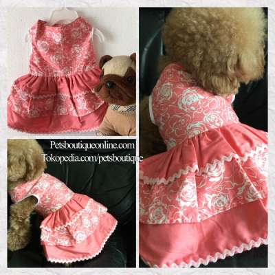 Pet Dress Sleeveless Rosy Peach Fluffy Dress Photo