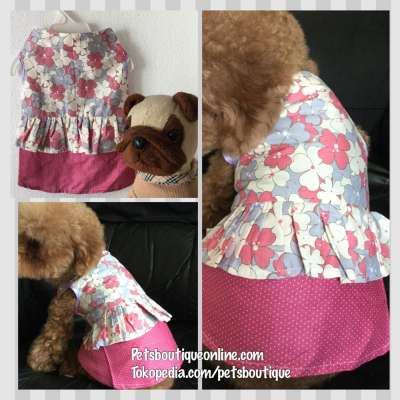 Pet Dress Sleeveless Cotton Pink & Violet Floral Photo