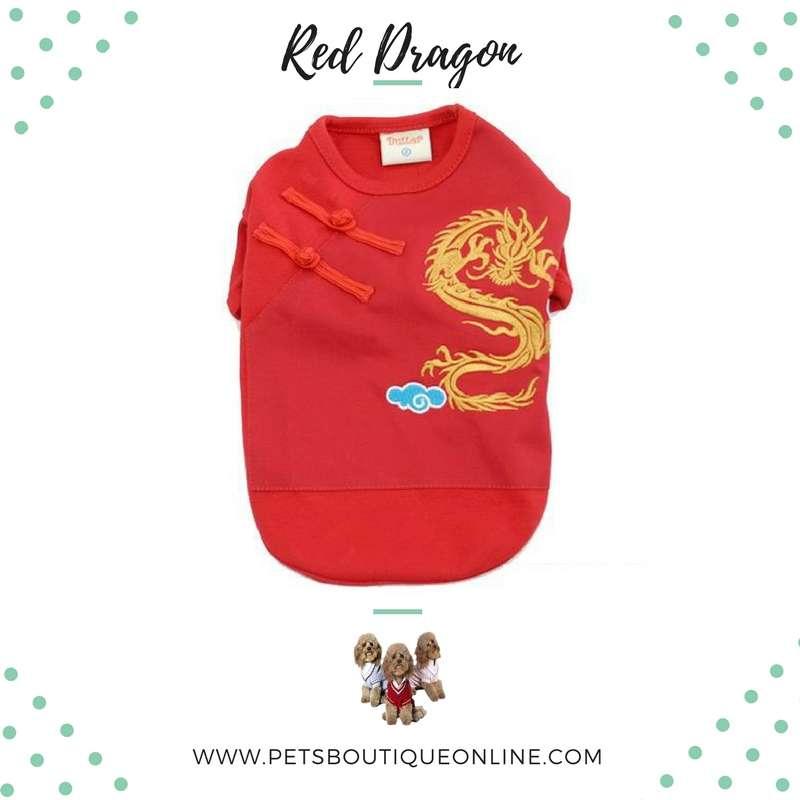 Pet T-shirt - Red Dragon - up to Big Size Dog Photo