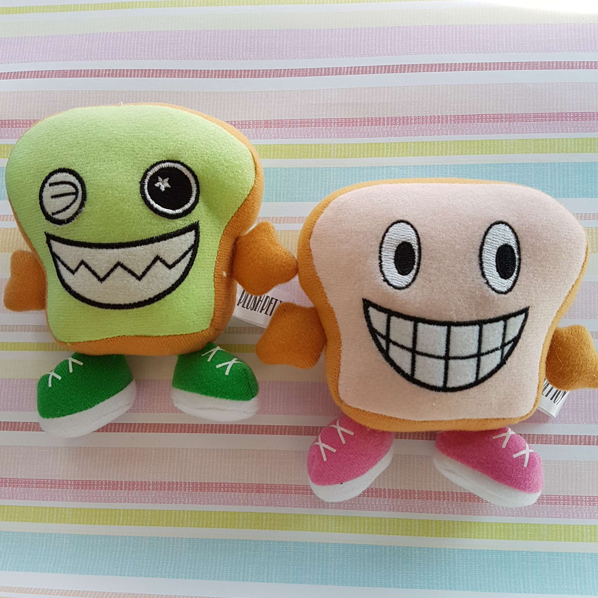 Toast Bread Face Plush Pet Toy with Loud Squeaky Sound Photo
