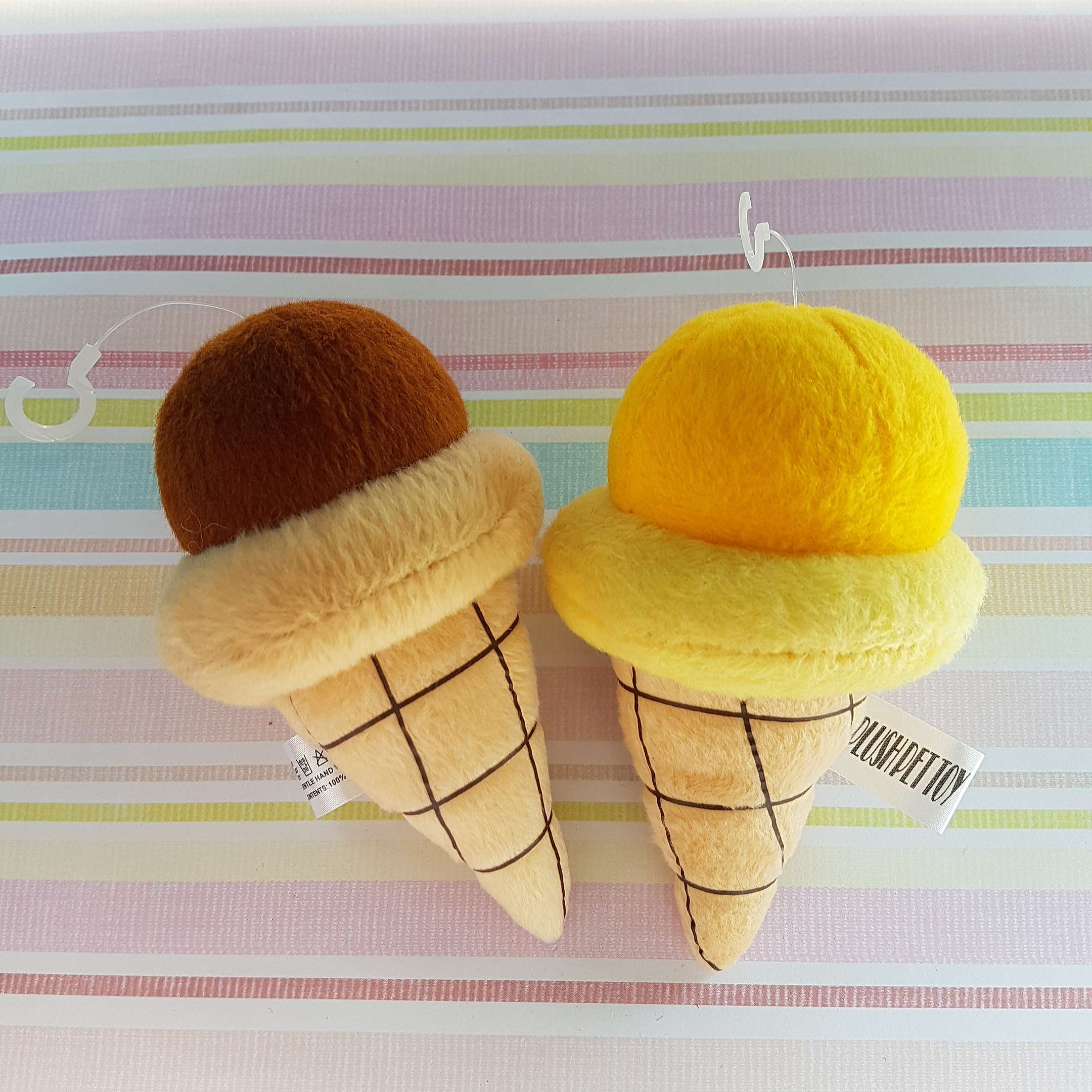 Ice Cream Cone Plush Pet Toy with Loud Squeaky Sound Photo