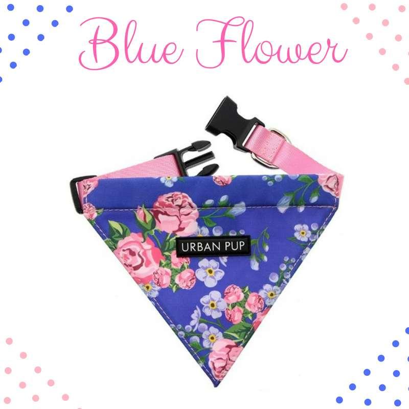 Bandana Collar - Blue Flower Photo