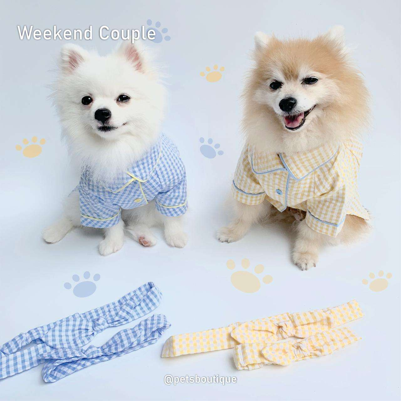 Animal Go Round - Weekend Couple PJ set - Blue or Yellow Photo